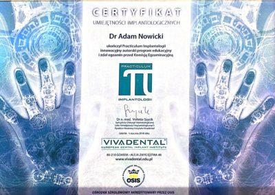 Certyfikat umiejętności implantologicznych